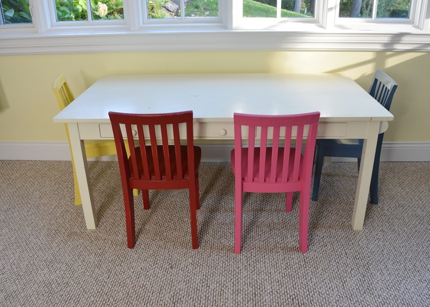 Pottery Barn Kids White Craft Table And Four  Part 72
