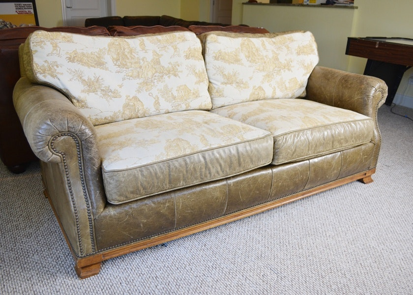 Drexel Heritage Reversible Cushion Camel Leather Sofa ...