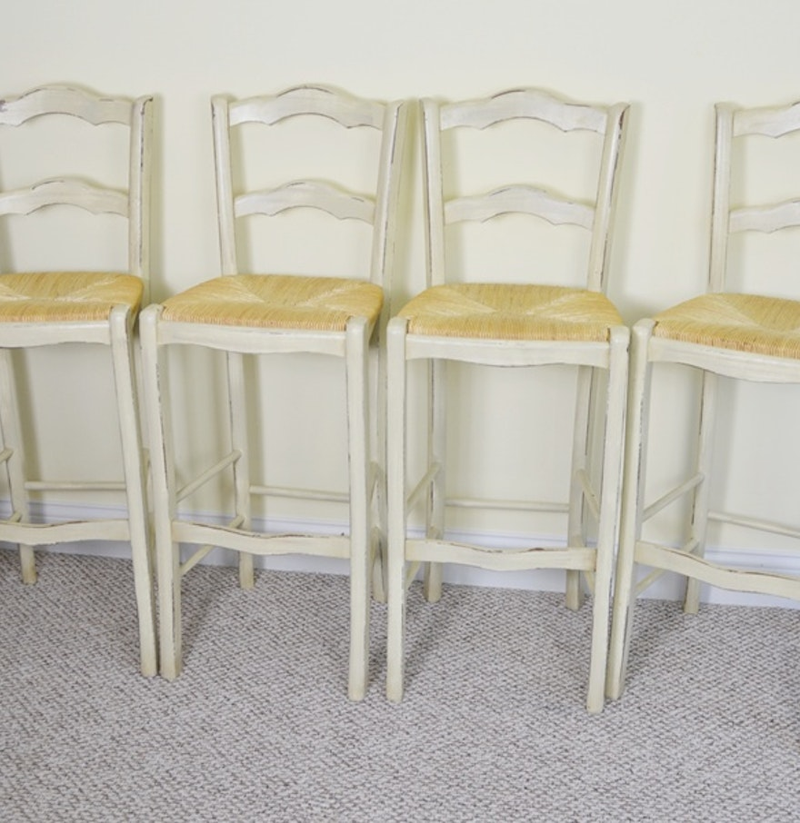 Country crafted wooden chair and stool ebth - Ballard Designs French Country Rush Seat Bar Stools