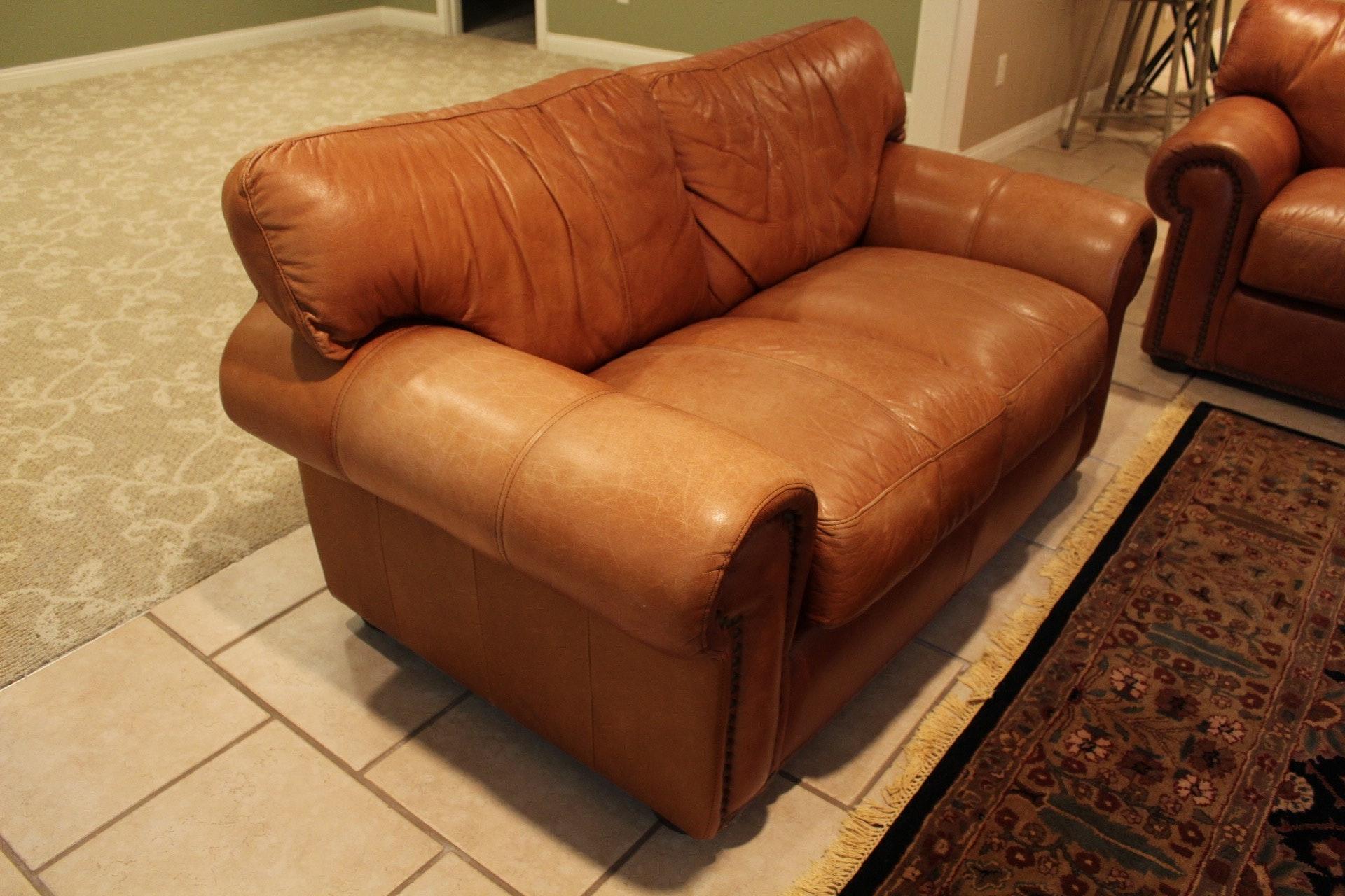 Elder Beerman Furniture Elder Beerman Tufted Leather Love Seat : EBTH
