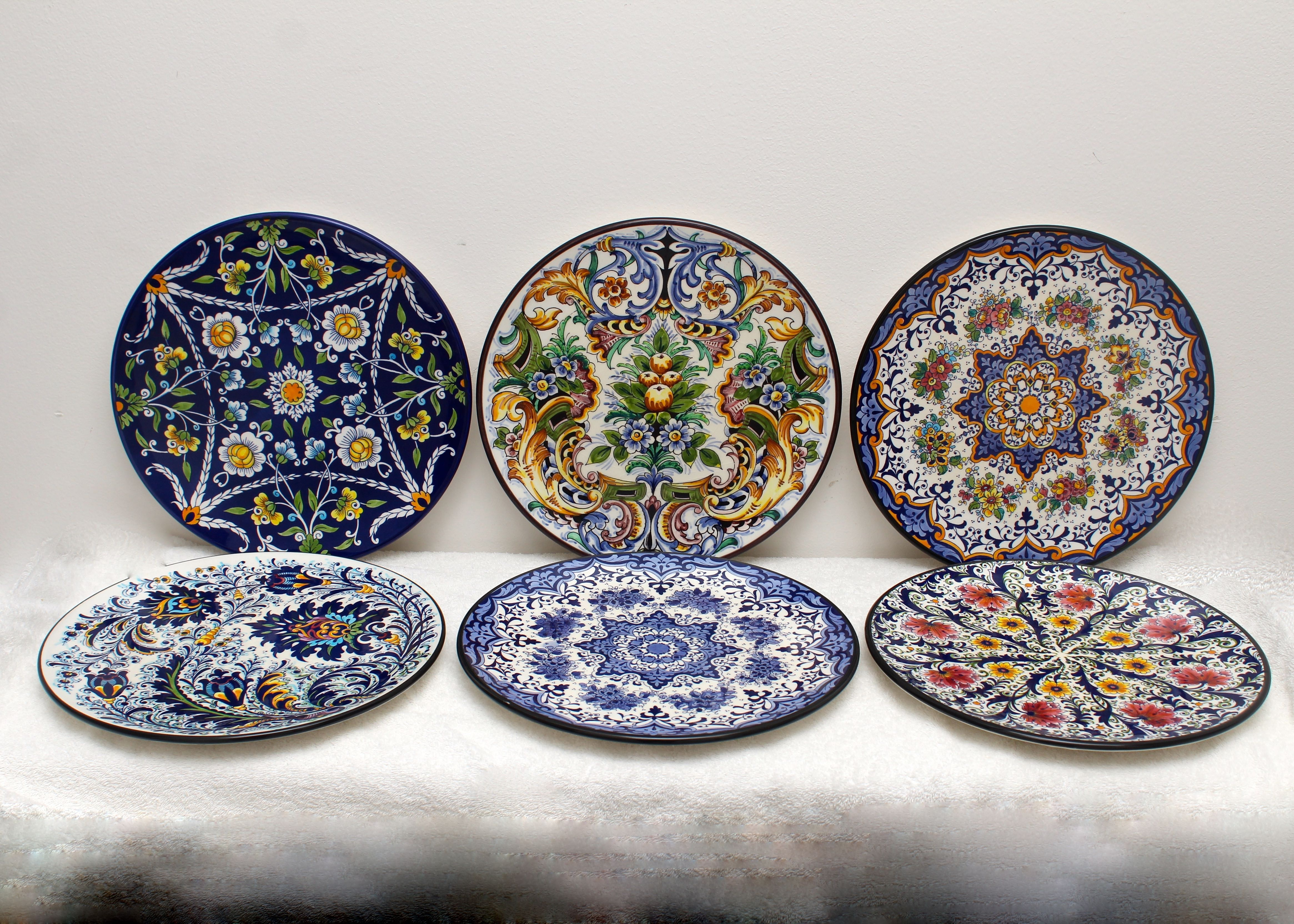 Set of Six Decorative Colorful Spanish Plates ... : spanish dinnerware sets - pezcame.com
