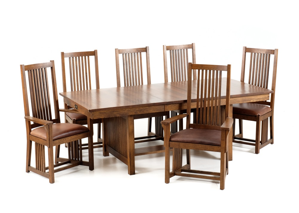frank lloyd wright prairie style oak table and six chairs vintage dining room ideas - Vintage Wooden Dining Chairs