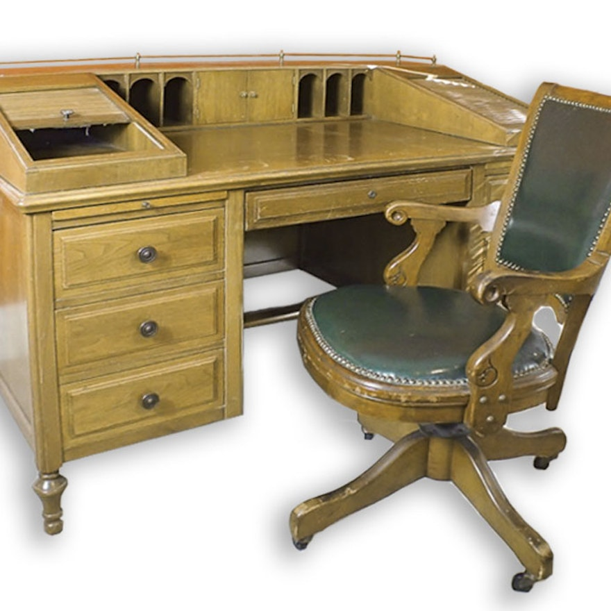 Fabulous Antique Oak Desk With Roll Top Sides And Antique Chair Dailytribune Chair Design For Home Dailytribuneorg