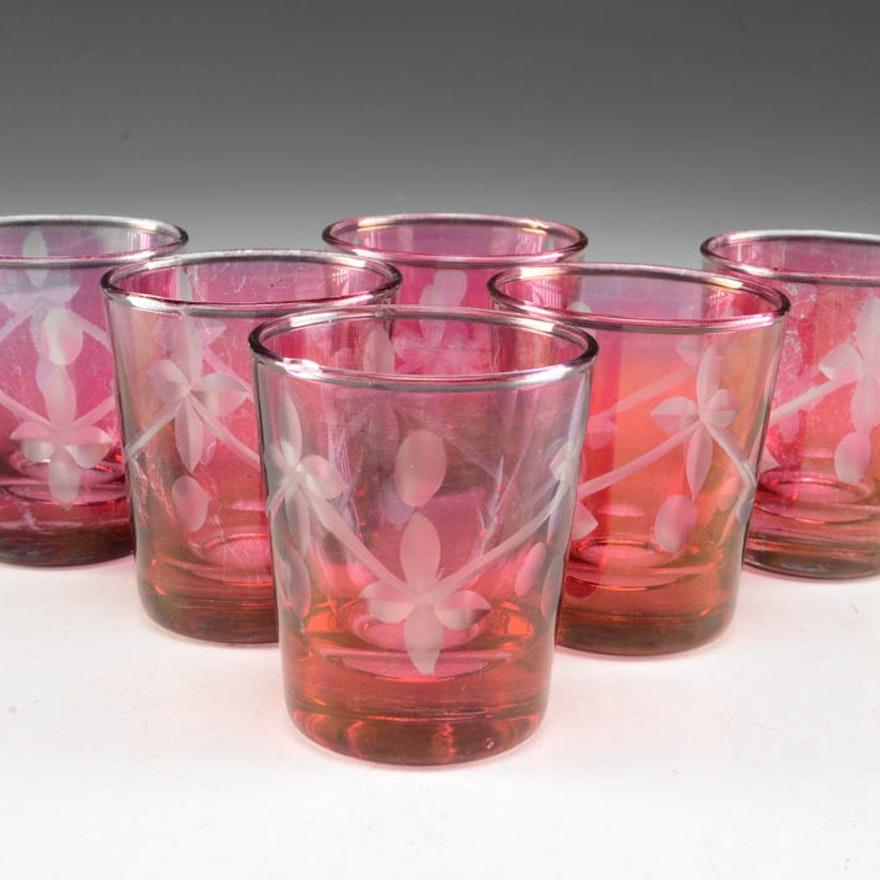 Set of Six Cranberry Flashed Shot Glasses