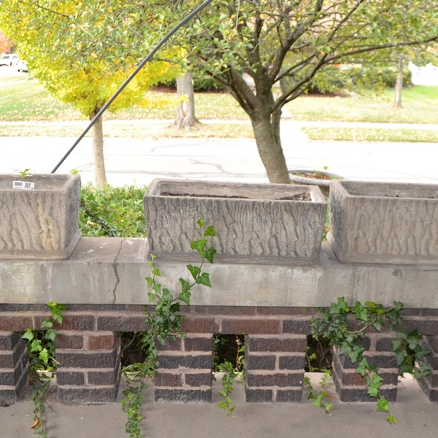 Three Rectangular Concrete Planters