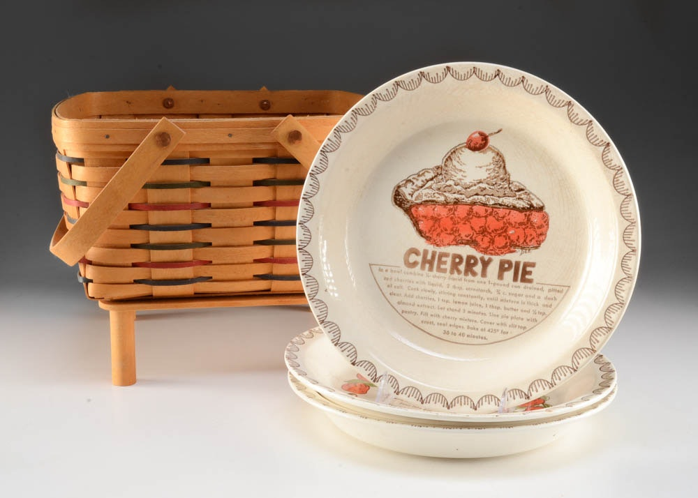 Longaberger Pie Basket with Pie Dishes ... & Longaberger Pie Basket with Pie Dishes : EBTH