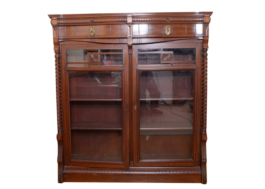 Antique Glass Front Display Cabinet ...