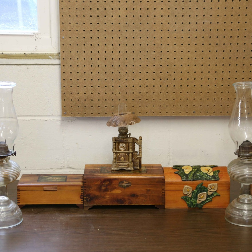 Variety of Oil Lamps and Wood Jewelry Boxes