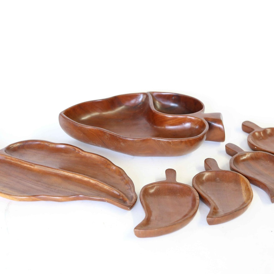 Hand Carved Mahogany Leaf Serving Trays
