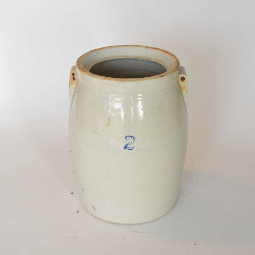 Antique Salt Glazed Stoneware Crock