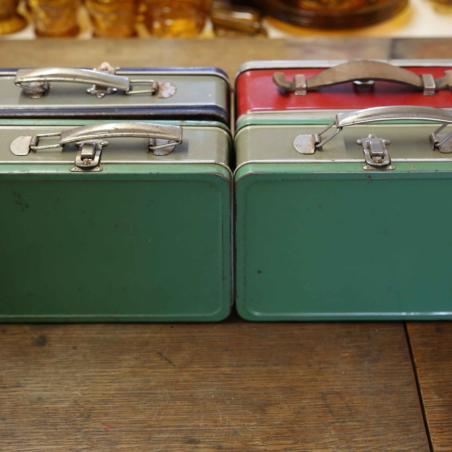 Blue, Red and Green Vintage Industrial Metal Lunchboxes
