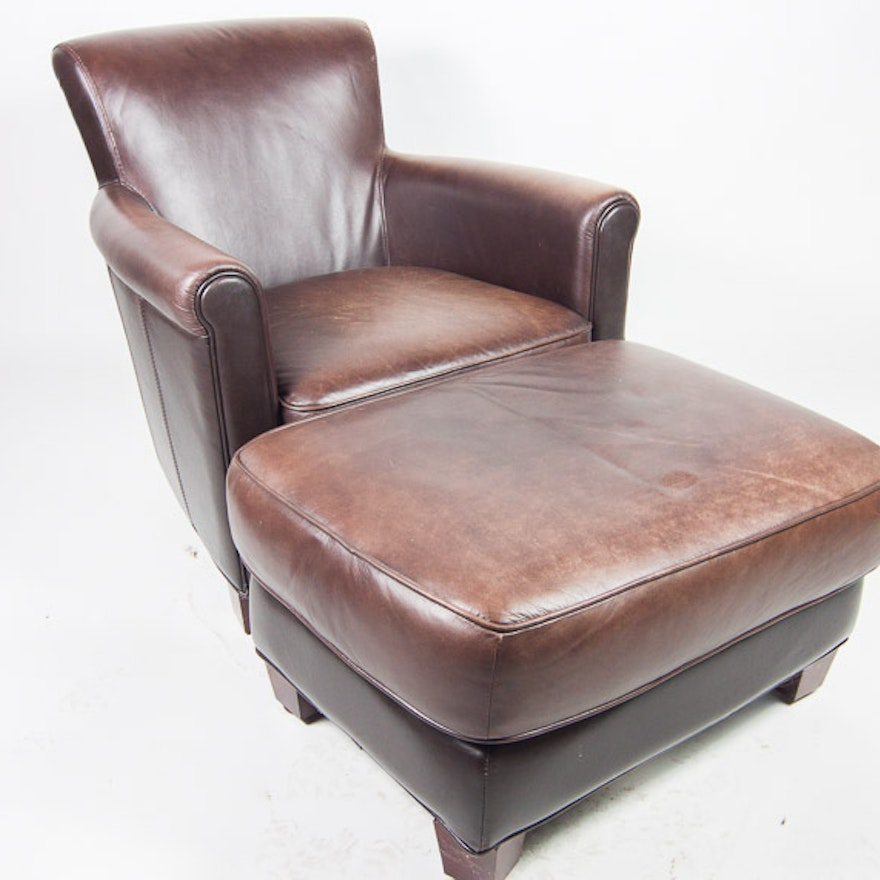 Furniture Market Leather Chair and Ottoman