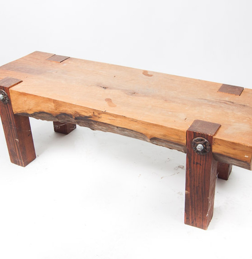 Beech wood bench table ebth