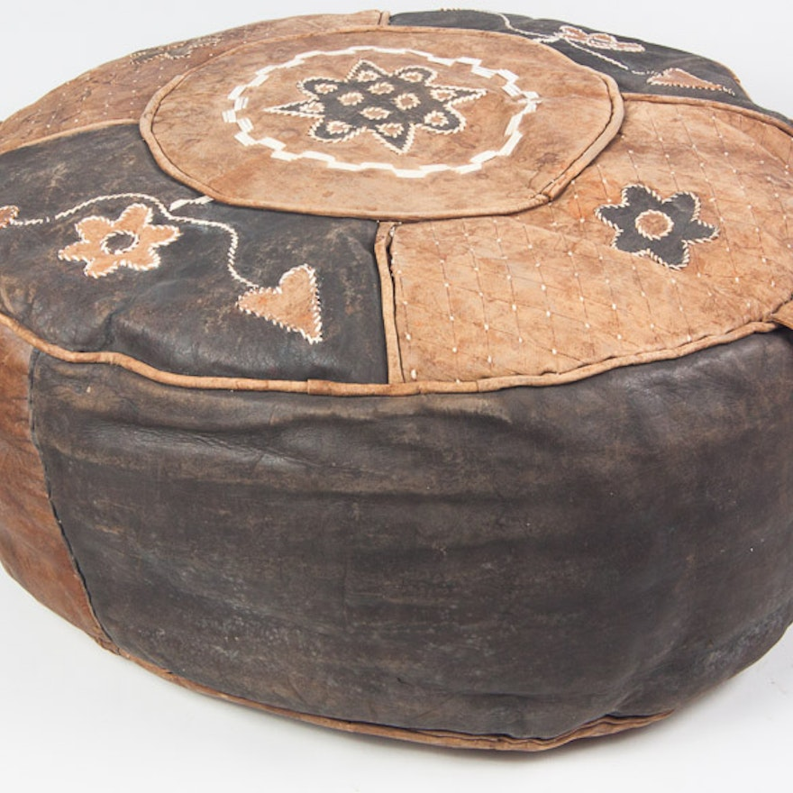 Handmade West African Leather Footstool