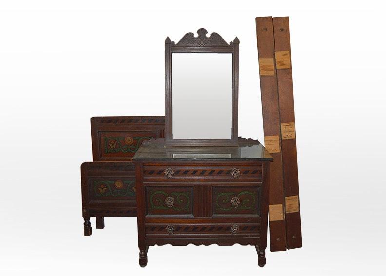 Oak Bed Frame, Dresser And Mirror Suite