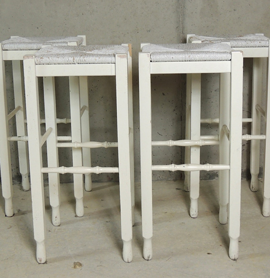 Four Pottery Barn White Shabby Chic Bar Stools : EBTH