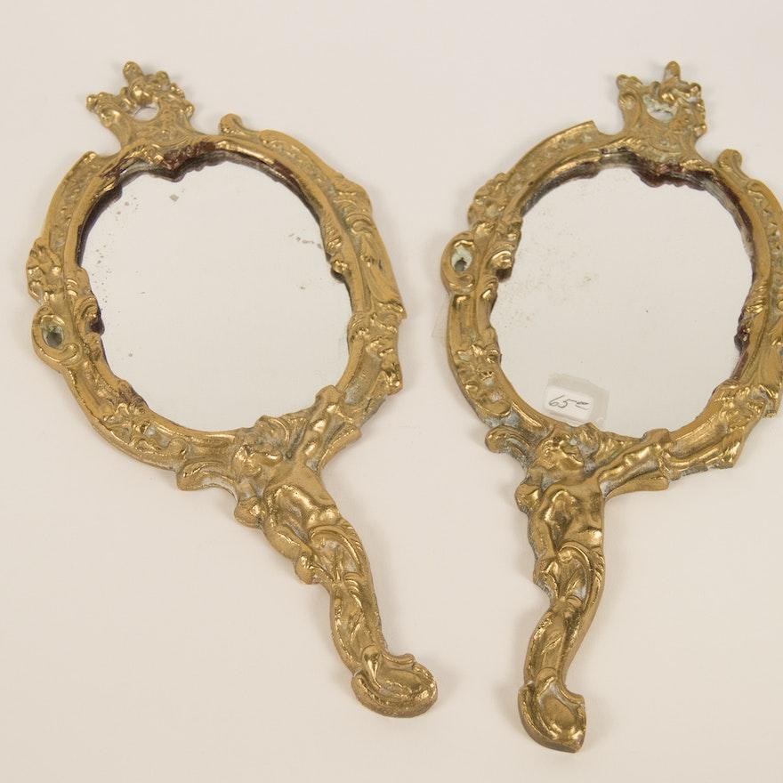 391fa2ea72c Pair of Gold Tone Hand Mirrors   EBTH