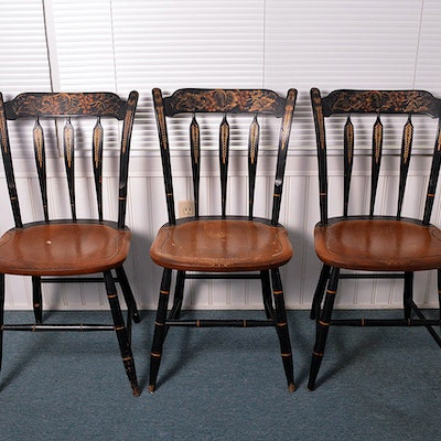 Early American Style Dining Chairs - Online Furniture Auctions Vintage Furniture Auction Antique