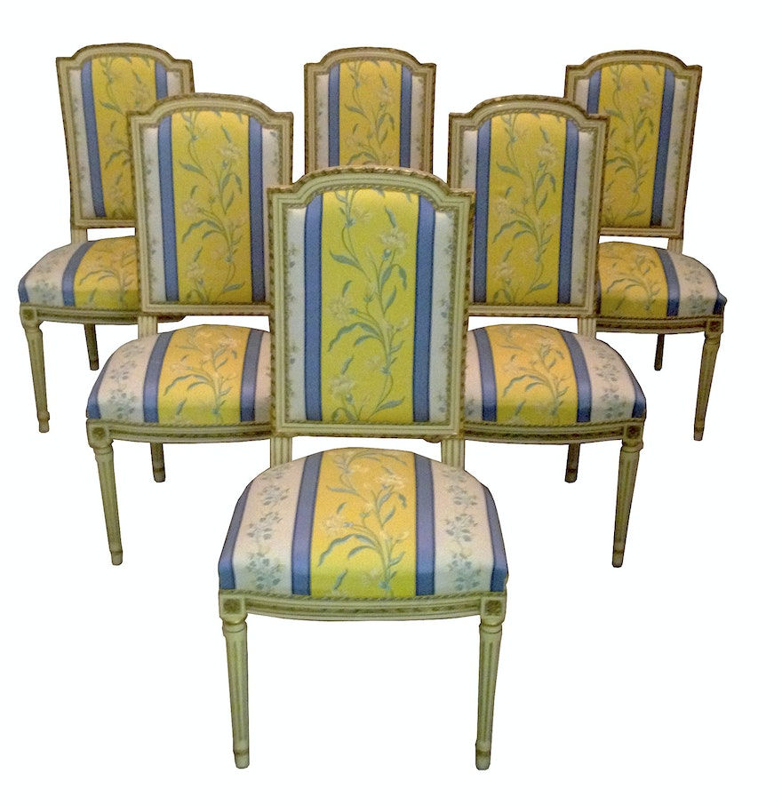 Six French Louis XVI Style Dining Chairs, Late 19th Century : EBTH