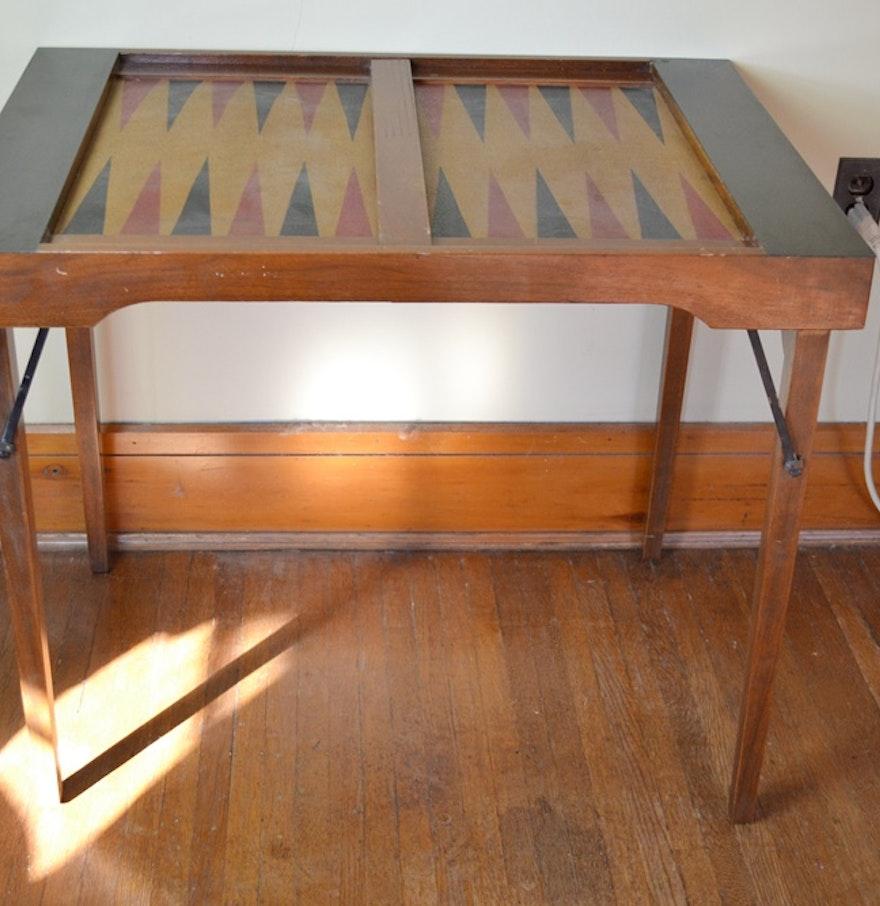 vintage folding backgammon table ebth. Black Bedroom Furniture Sets. Home Design Ideas