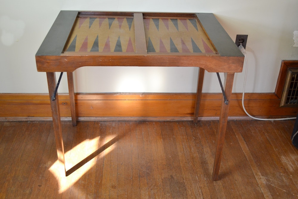 Vintage Folding Backgammon Table ...