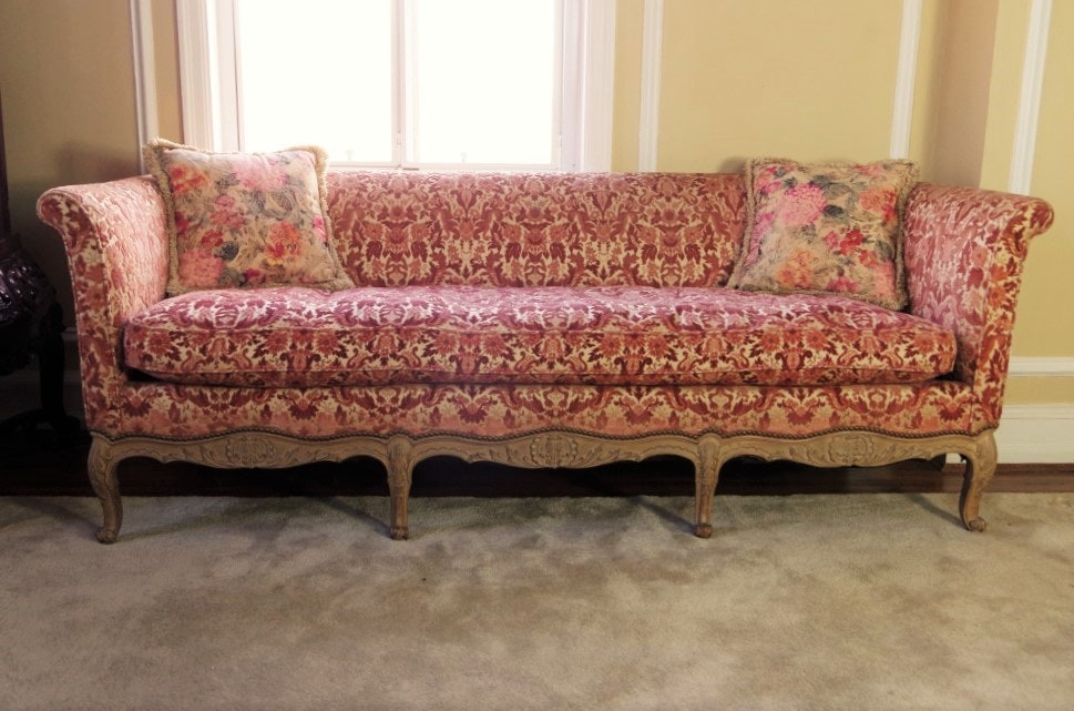 vintage french provincial sofa with velvet tapestry upholstery ebth rh ebth com antique french provincial sofa and chair Antique French Provincial Furniture