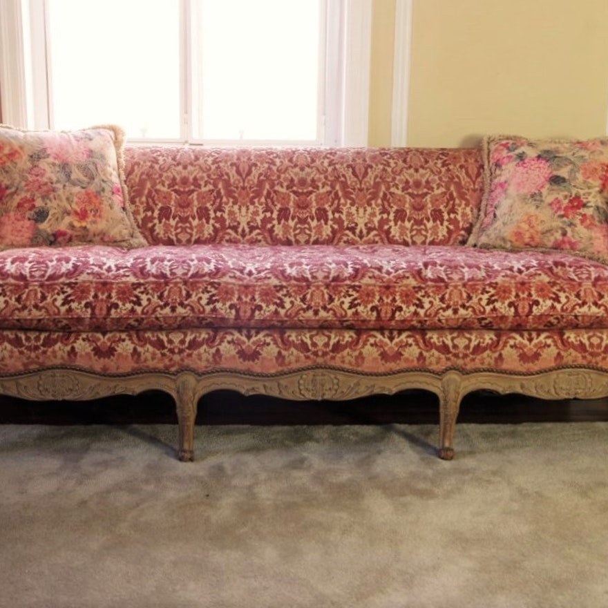 Vintage French Provincial Sofa With Velvet Tapestry Upholstery