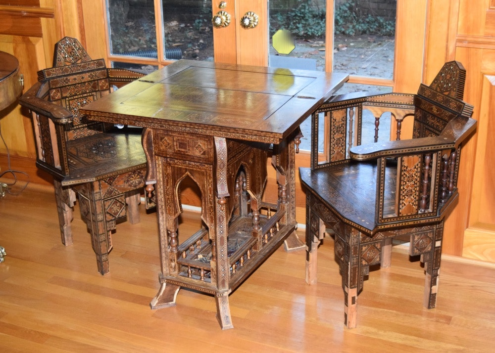 Moroccan Style Game Table And Two Chairs ...