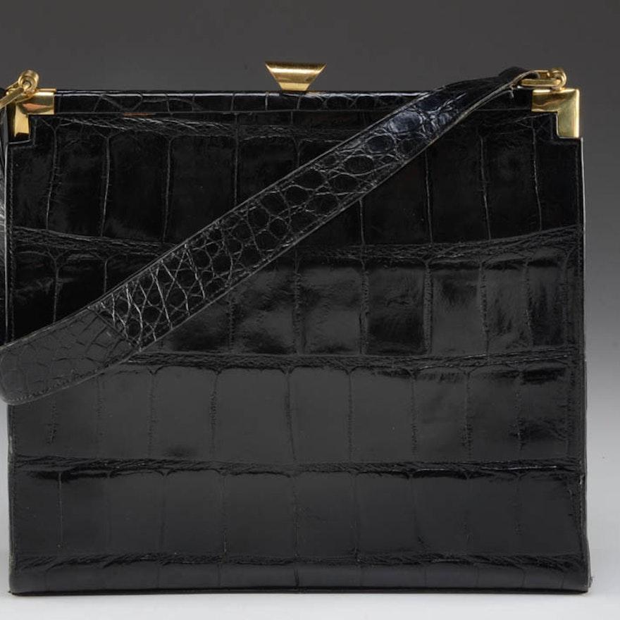1950s Vintage Deitsch Designer Black Crocodile Purse