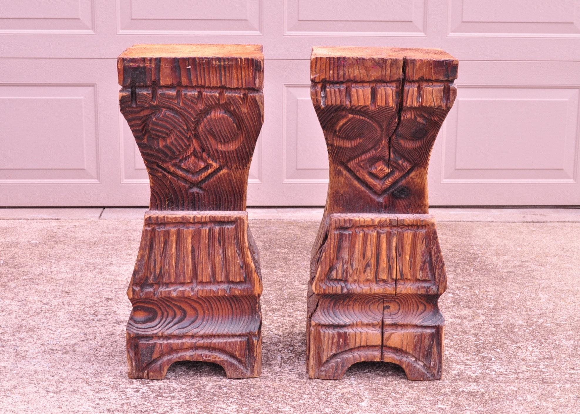 pair of 1970s witco carved tiki bar stools : ebth 1970s Bar Stools