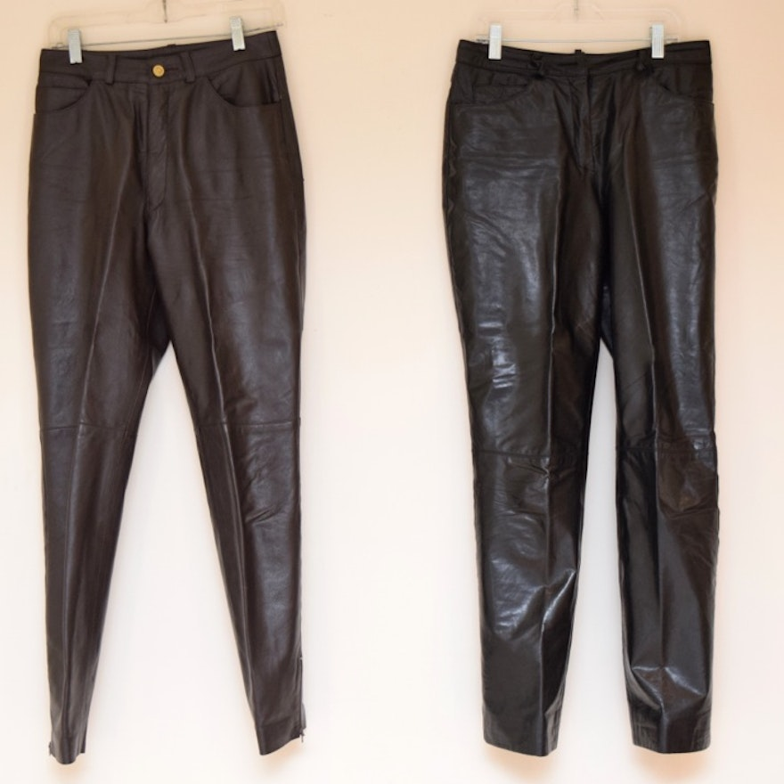 ac3964c00c4258 St. John Women's Dark Brown Leather Pants and Black Leather Pants | EBTH