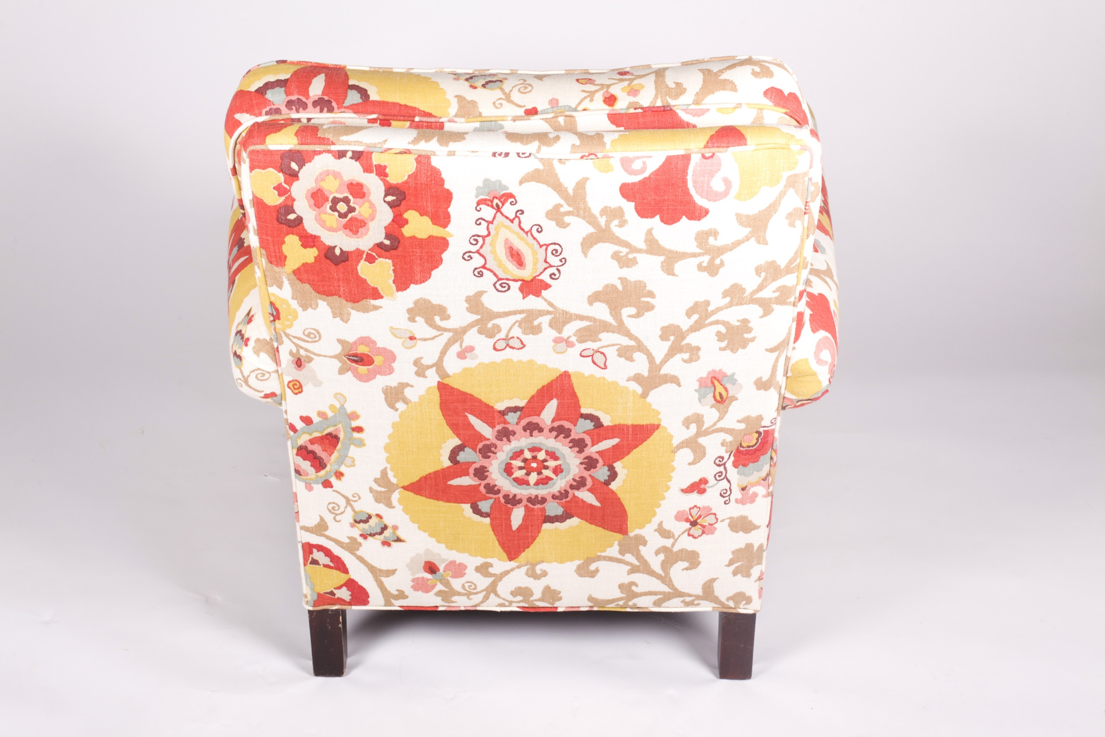 Pair Of Chic Suzani Upholstered Armchairs And Ottomans Ebth