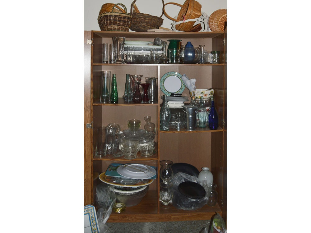 Cabinet Filled With Glassware, Ceramics, Baskets ...