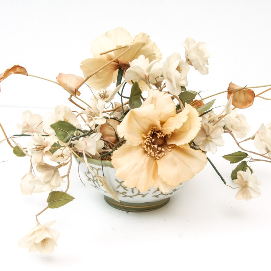 Japanese porcelain bowl and silk flower arrangement ebth japanese porcelain bowl and silk flower arrangement mightylinksfo