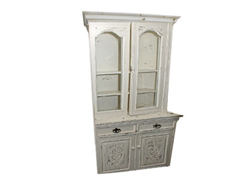 Antique Painted Mahogany Setback Cupboard