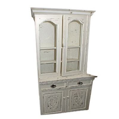 Antique Painted Mahogany Setback Cupboard - Online Furniture Auctions Vintage Furniture Auction Antique