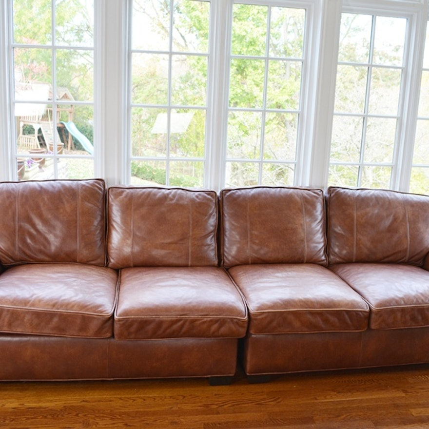 Arhaus Bwood Tiger Mahogany Leather Sofa