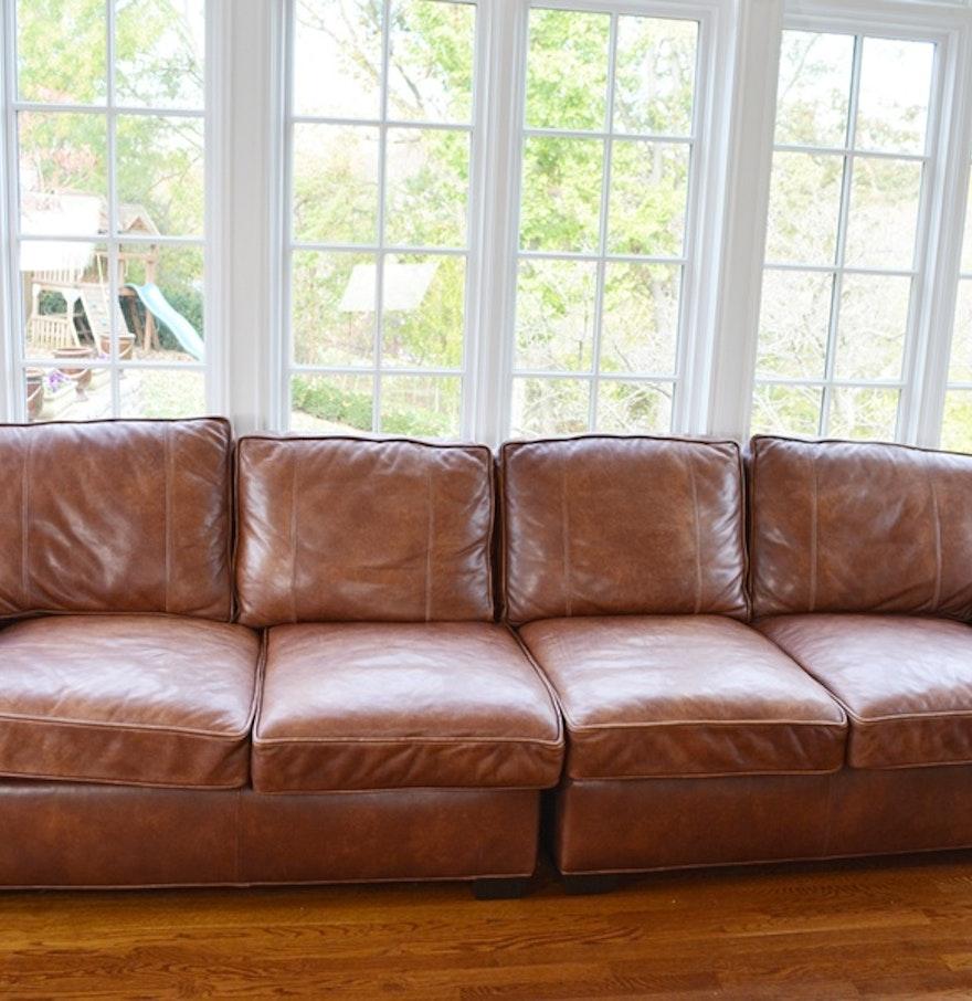 Arhaus Brentwood Tiger Mahogany Leather Sofa EBTH - Mahogany leather sofa