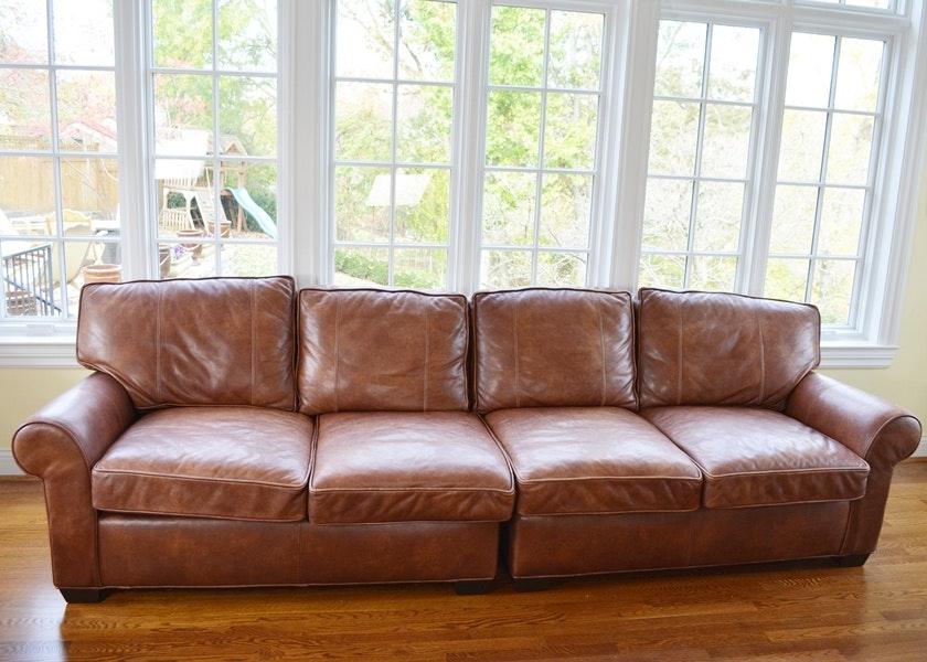 Arhaus Brentwood Tiger Mahogany Leather Sofa