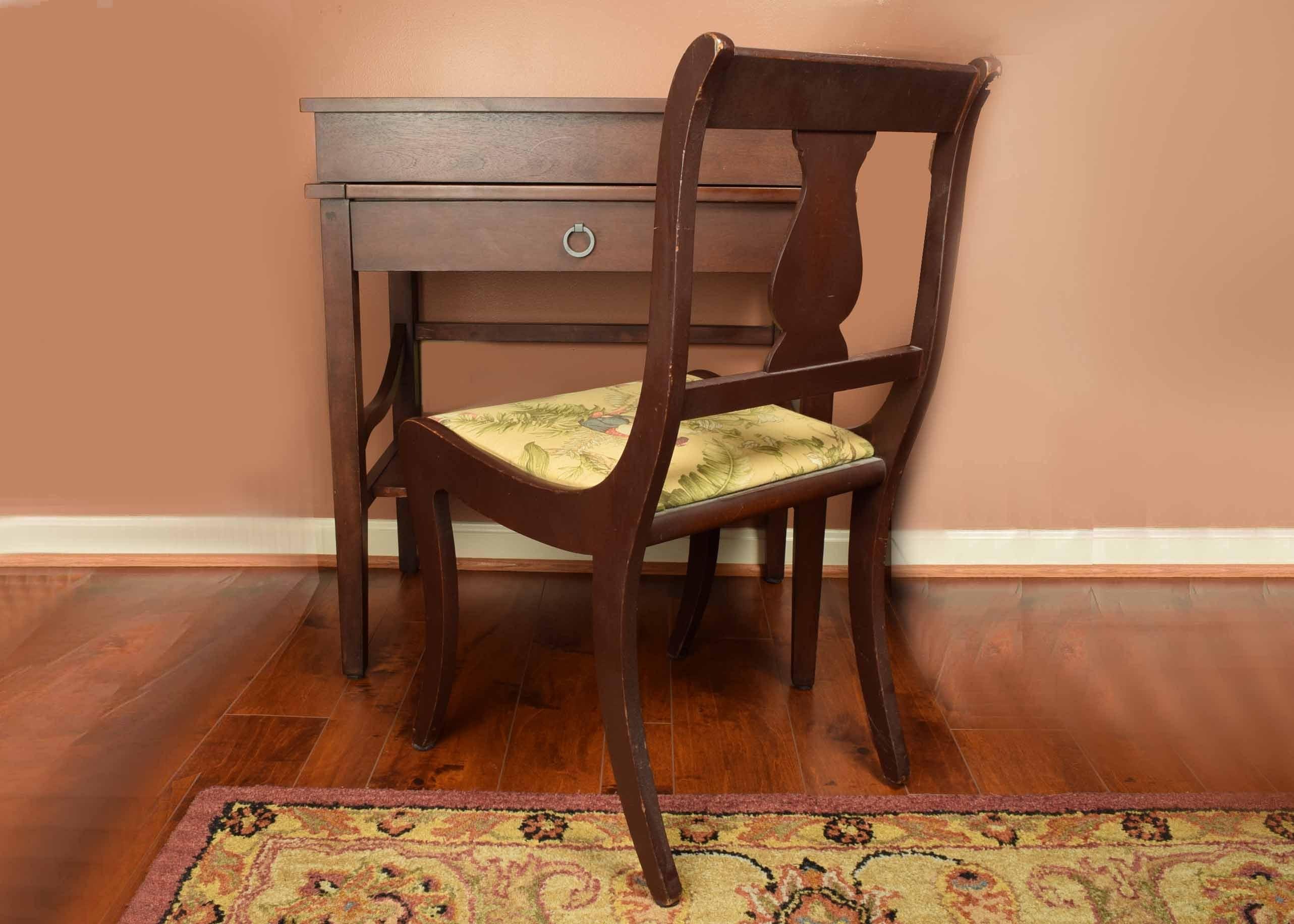 Fliptop Secretary Desk And Side Chair