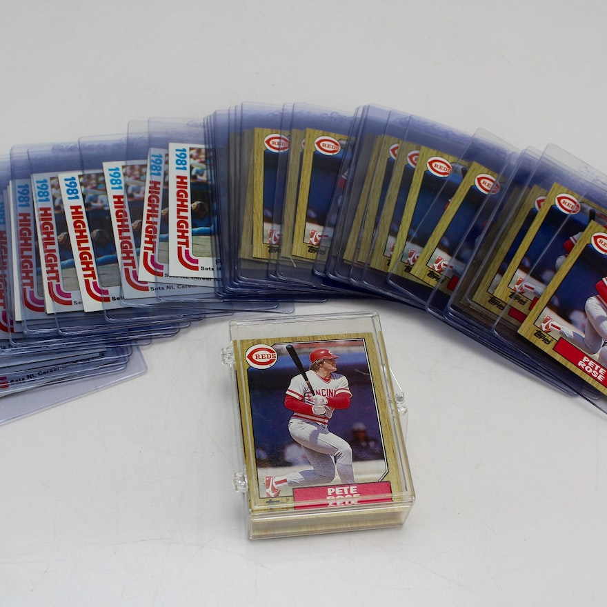 1982 And 1987 Topps Pete Rose Baseball Card Stacks