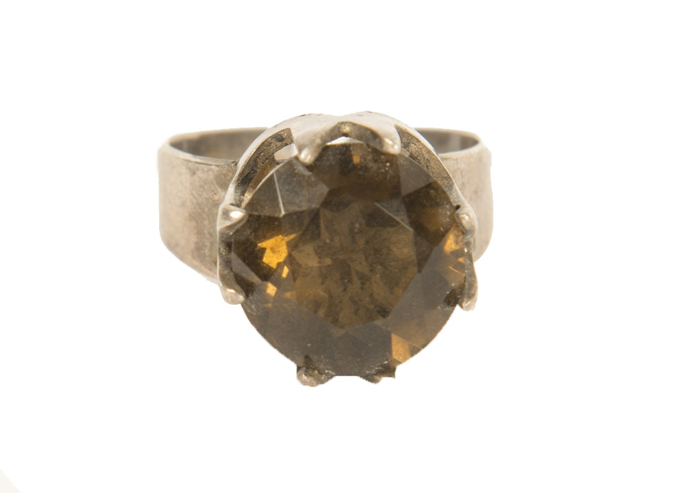 sterling silver and brown smoky quartz ring ebth