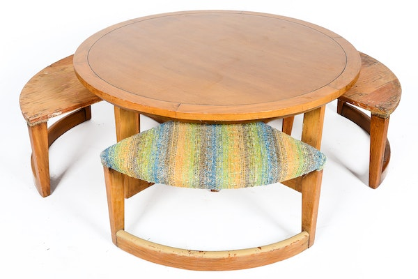 Mid Century Coffee Table And Four Stools Ebth