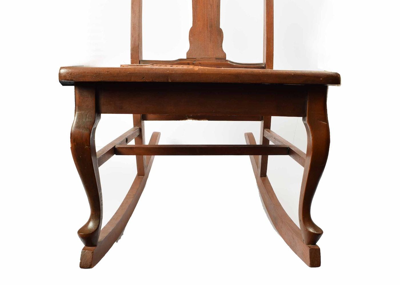 Antique Cane Seat Nursing Rocking Chair Ebth