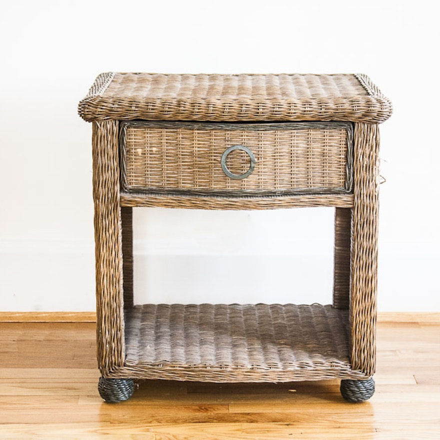 Small Wicker Side Table Ebth
