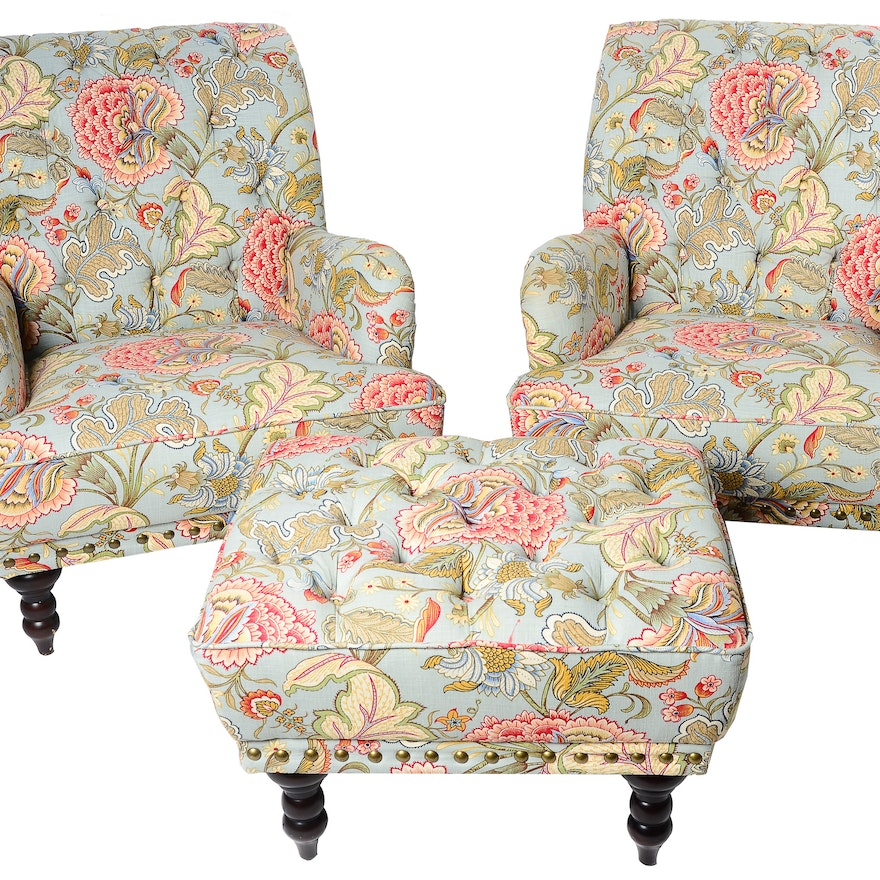 Magnificent Pair Of Upholstered Pier One Chairs With Matching Ottoman Andrewgaddart Wooden Chair Designs For Living Room Andrewgaddartcom