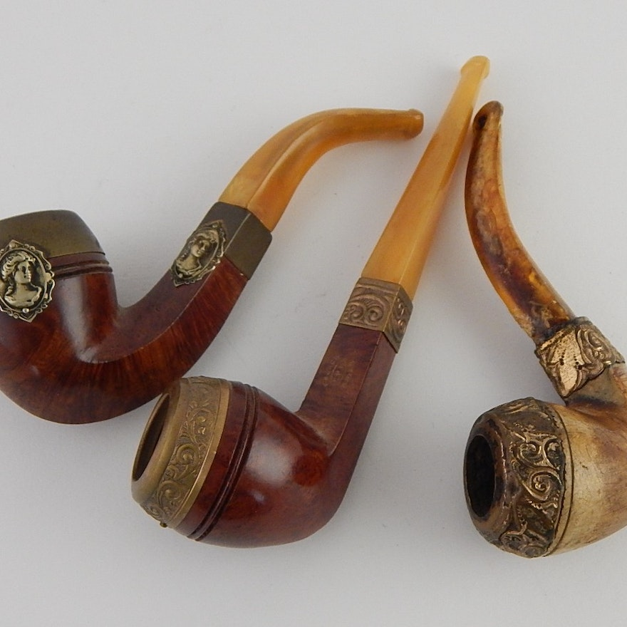 Three antique collectible tobacco pipes french briar ebth for What are old plumbing pipes made of