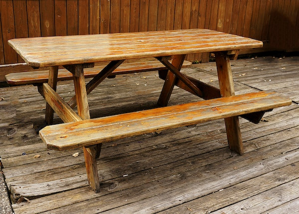 vintage pine picnic table for 8 10 people ebth