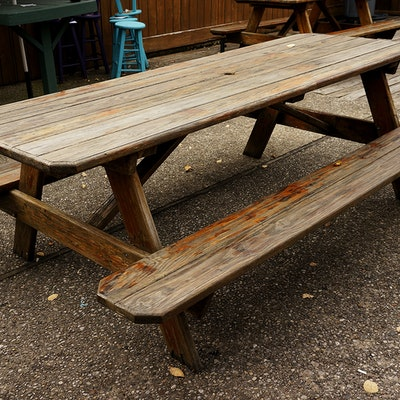 Vintage dining furniture auction antique dining for 10 person picnic table