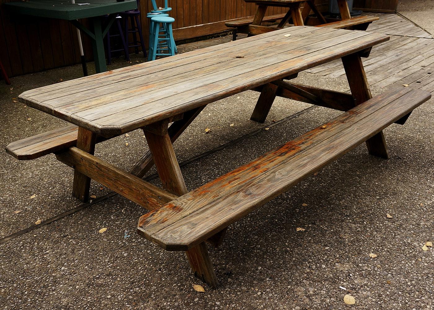 Large Vintage Pine Picnic Table ...